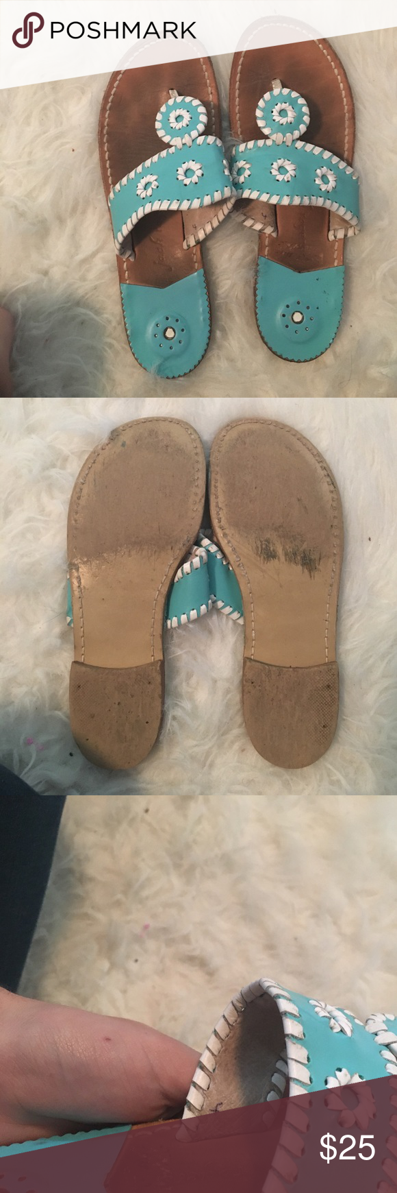 Kids Teal and white Jack Rogers Very loved shoes! No longer fits, needs a new home! Shoes Sandals & Flip Flops