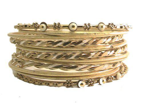 Gold Tone Beige Silk Thread Bangle Bracelet Set Shop One ...…
