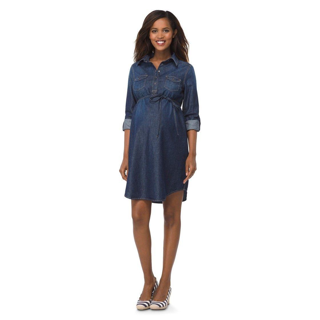 Maternity 34 sleeve denim shirt dress dark blue liz lange for maternity 34 sleeve denim shirt dress dark blue liz lange for target ombrellifo Gallery
