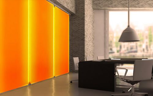 Decorative Backlit Wall Panel CHROMA ACCENT Form Lightbox - Colorful loft design with unique wall structure stargarder strasse by graft