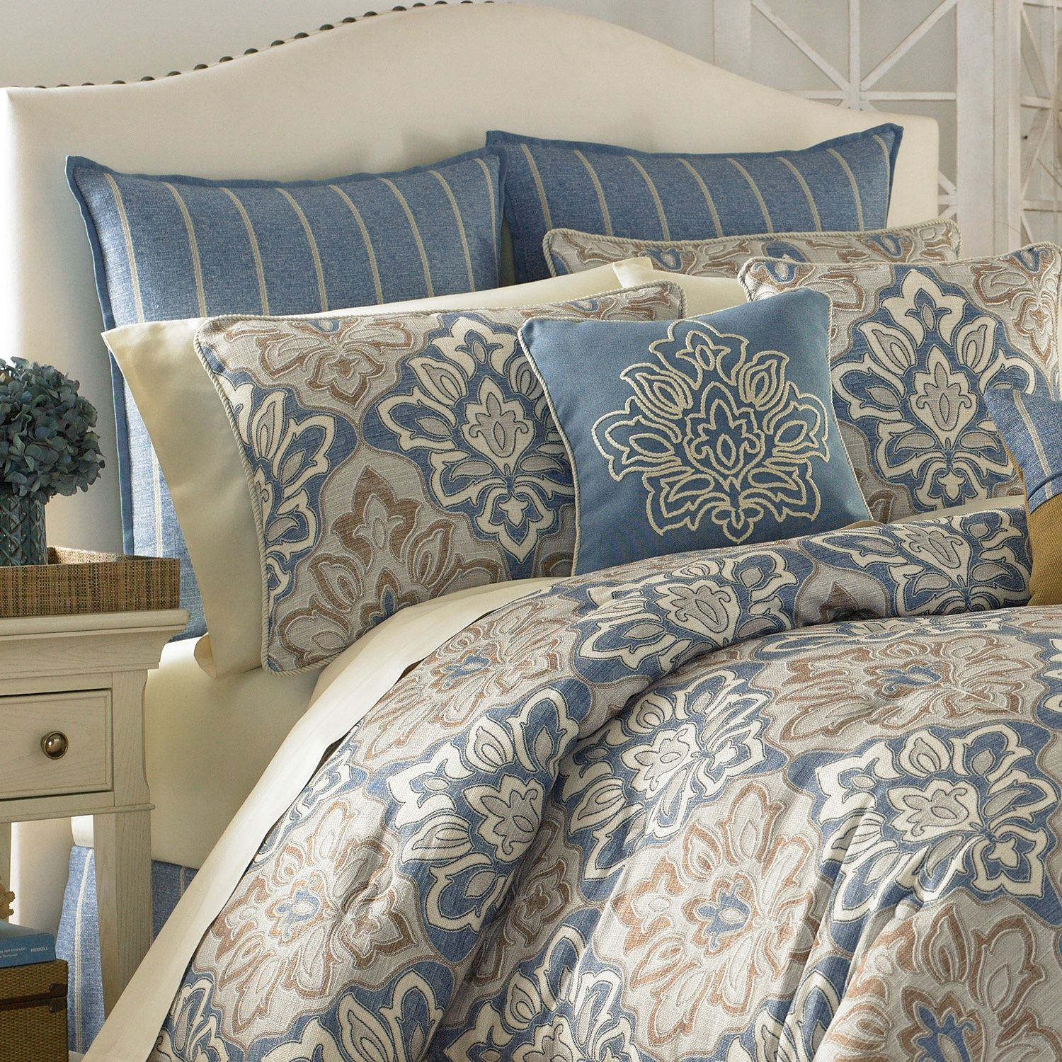 The Captain S Quarters Bedding Collection By Croscill Features A Distressed Print On A Textured Background In Shad Croscill Bedding Bedding Sets Comforter Sets