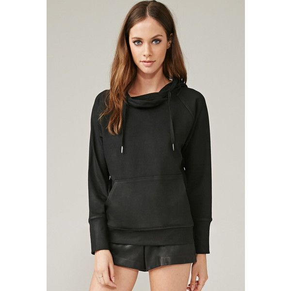 Forever 21 Women's  Marina T. Fleece Hoodie ($128) ❤ liked on Polyvore featuring tops, hoodies, hooded sweatshirt, black fleece hoodie, sweatshirts hoodies, forever 21 hoodie and fleece hoodies