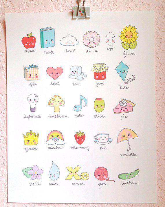 Kawaii Cute Illustrated Alphabet art print- digital file, instant download- cloud, rain drop, rainbo