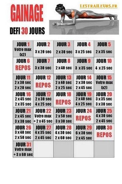 Gainage dfi 30 jours  Abdos  Programme gainage Defi