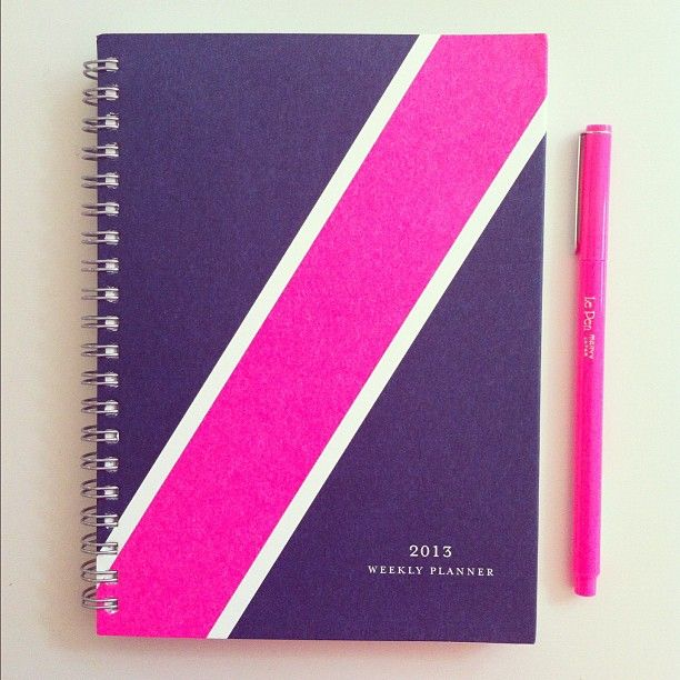 Preppy navy blue and pink nautical stripe agenda. Lovely! | mackenziehoran, Instagram