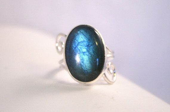 Stunning Handcrafted Color-Change Labradorite Scroll Ring In Sterling- Silver Bezel-Set Split Shank Statement Ring - Color Shift Gem