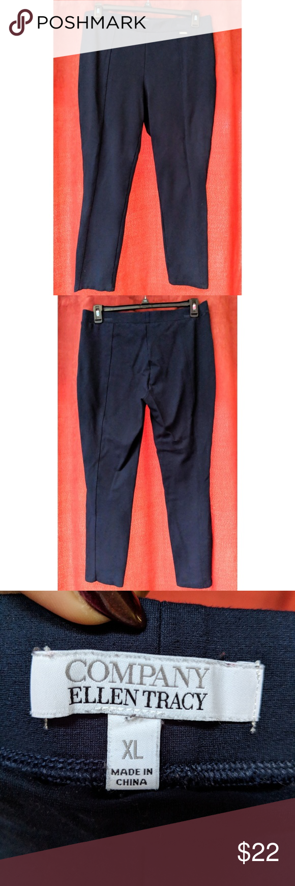 ae3fb0096d74e Pre-loved, but still in great condition! Size XL. Navy blue in color. Seamed  design. Slim fit. Elastic waist. Nice pants! Ellen Tracy Pants Skinny