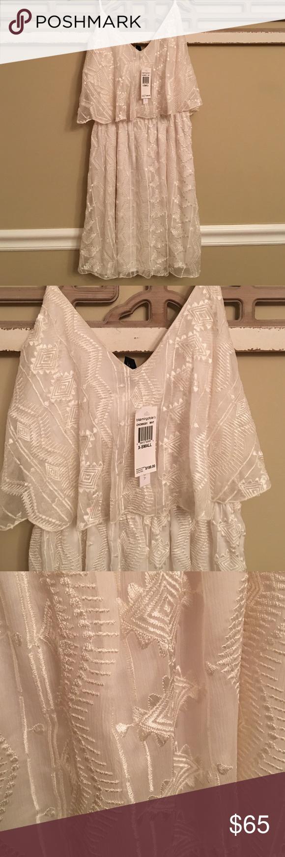 Aqua Dress from Bloomingdales New w/tag Off white fully lined, adjustable straps Aqua Dresses Midi