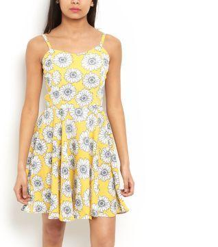 Yellow Daisy Print Strappy Dress