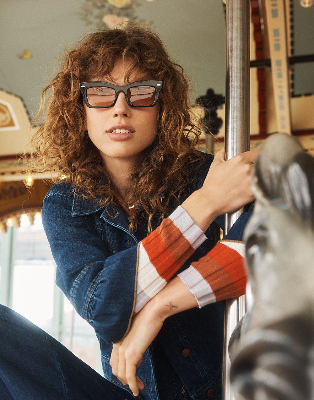 0d41f48a79b madewell x karen walker banks sunglasses worn with madewell x karen walker  muster denim jacket + clarkwell pullover sweater.