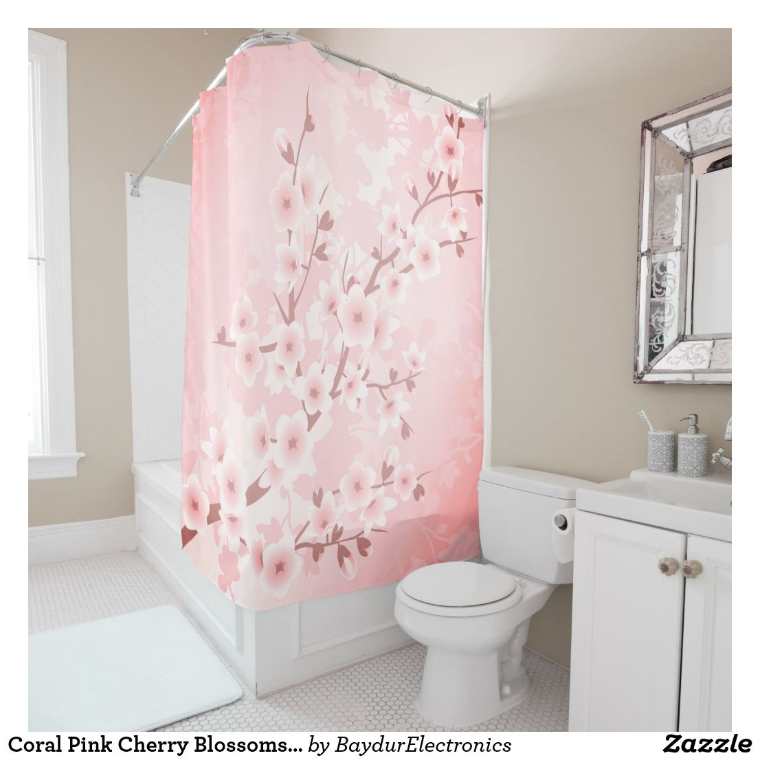 Coral Pink Cherry Blossoms Classic Shower Curtain