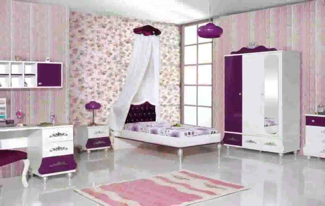 College Girl Bedroom Theme Pink And Purple Wall And