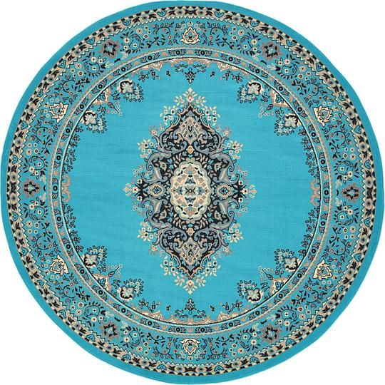 Turquoise Mashad Design Area Rug