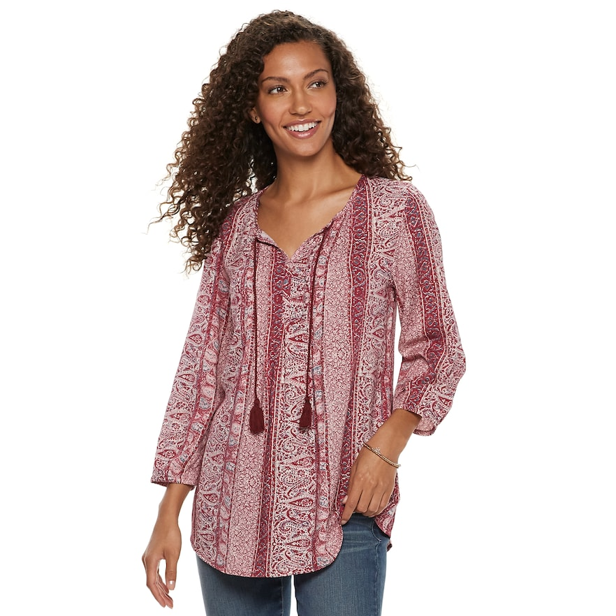 7825267034ec0 Women s SONOMA Goods for Life™ Printed Pintuck Peasant Top in 2019 ...