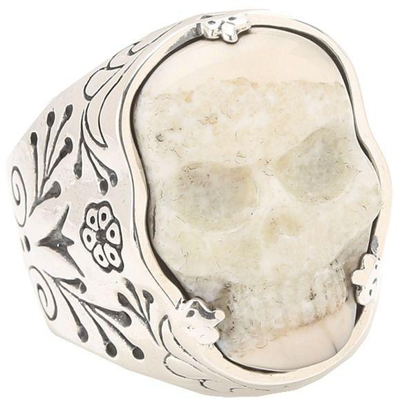 King Baby Studio Carved Ivory Skull in Silver Frame Ring