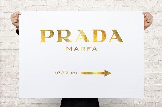 Prada Marfa Gossip Girl Gold Oversized Art Print By Coolposter 16 99 Oversized Art Print Oversized Art Prada Marfa