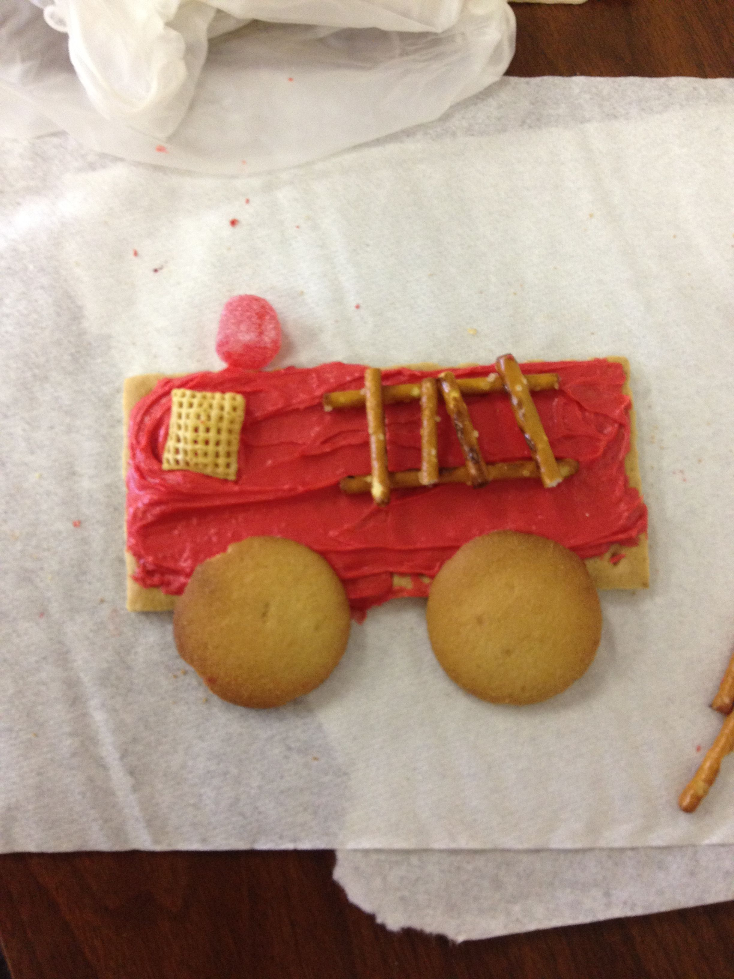 Fire Truck Snacks In Kindergarten