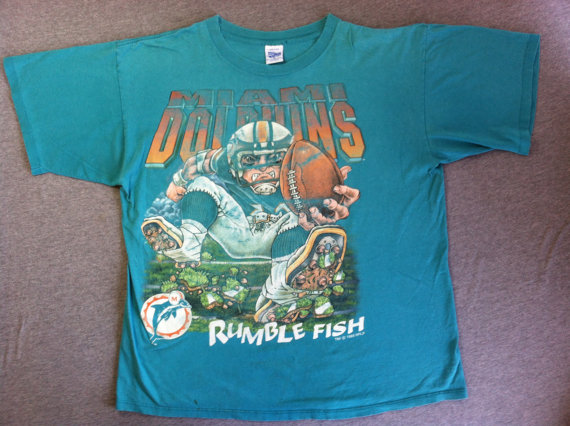 cfc604e2 Vintage MIAMI DOLPHINS 1993 Shirt/ HUGE Print Rumble Fish Football ...