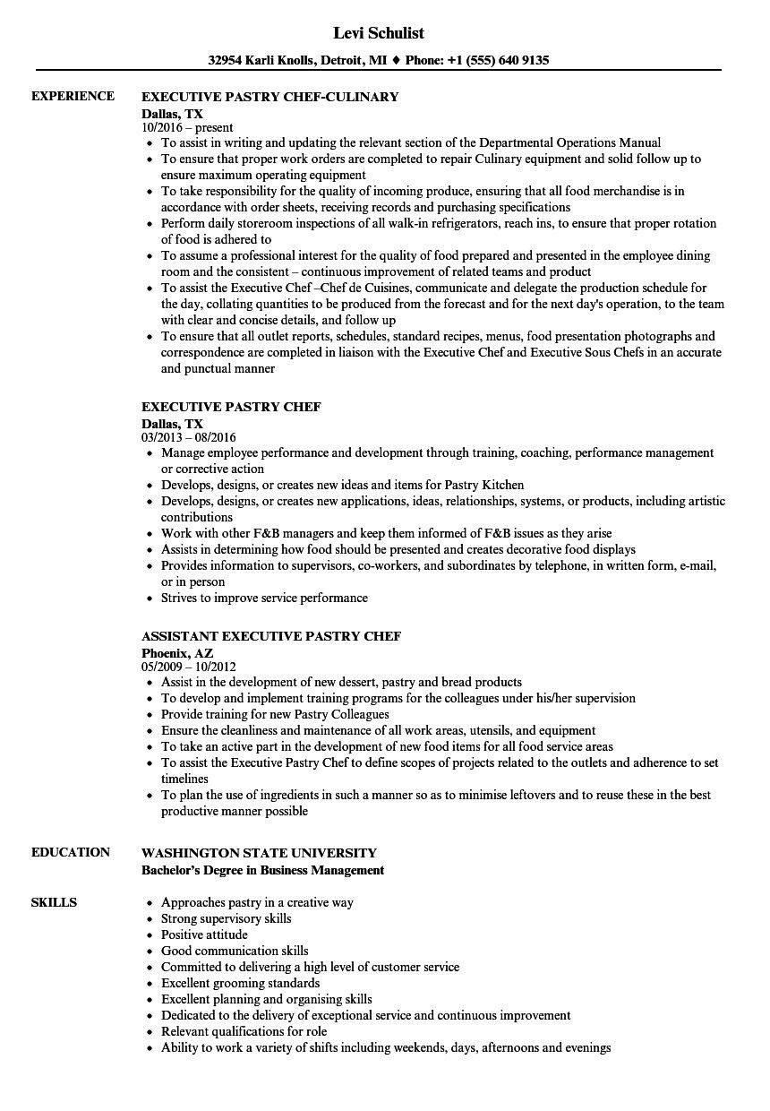 Executive Pastry Chef Resume Sample Pastry Chef Chef Resume Pastry Chef Resume