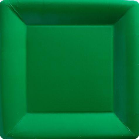 Festive Green Paper Square Dinner Plates 20ct - Paper Plastic Plates - Solid Color Tableware & Festive Green Paper Square Dinner Plates 20ct - Paper Plastic ...