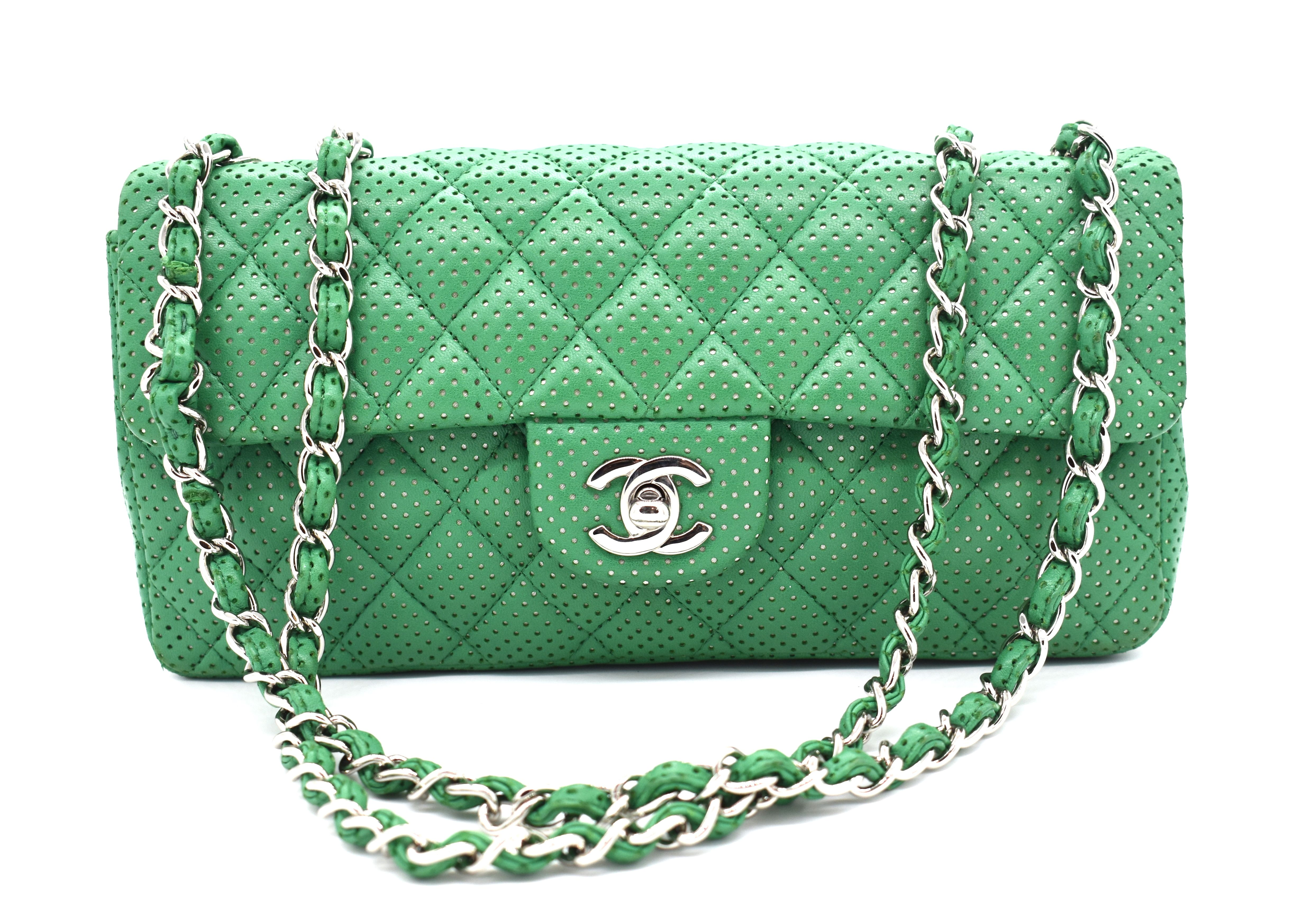 d8b28005b9b4 All the Chanel, all the time. Rent this green Chanel classic flap shoulder  bag from DesignerShare.