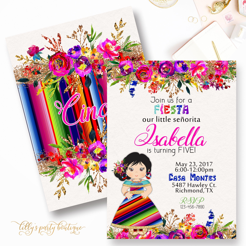 Fiesta Birthday Invitation, Mexican Fiesta Birthday Invitation ...