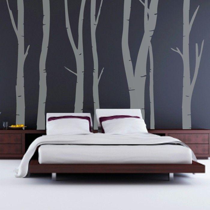 ideen für wandgestaltung schlafzimmer wand akzentwand Pinterest