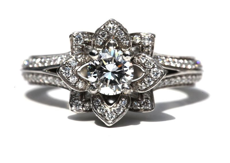 Something Old Engagement Ring Floral Design Unique Diamond Engagement Rings Fashion Rings Vintage Engagement Rings
