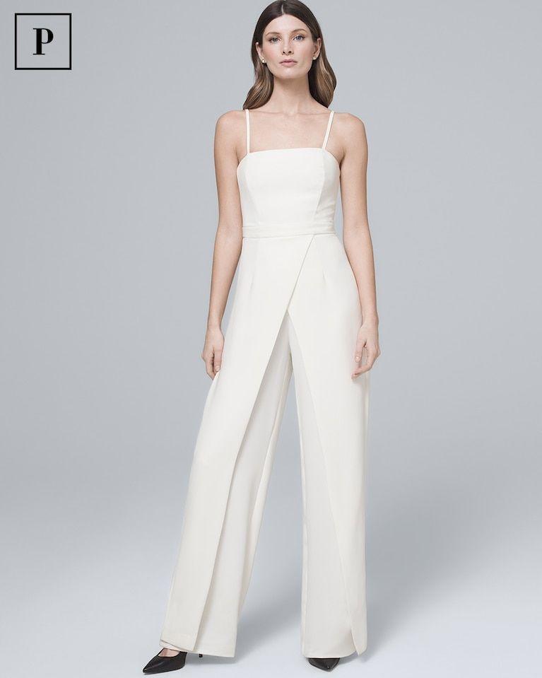 d1d95942e43b Convertible White Strapless Split-Leg Jumpsuit - White House Black Market  Strapless Jumpsuit, White