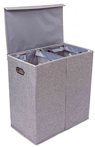 Double Laundry Hamper With Lid And Removable Liners Double