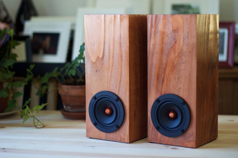 Redwood Wood Mini Tower Speakers Set Of Two Passive Speakers Free Shipping Wood Speakers Tower Speakers Wooden Speakers