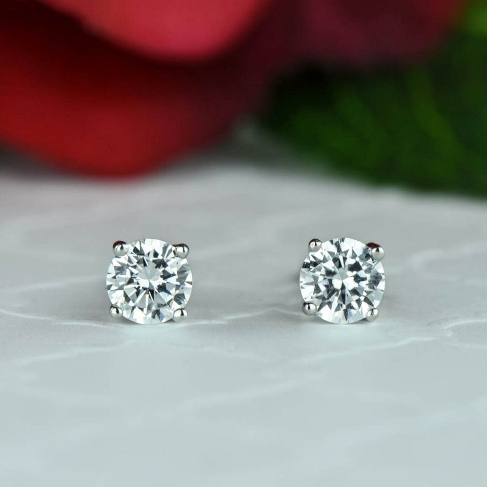 1 Ctw 4 G Stud Earrings 5mm Round Cut Man Made Diamond Simulants Sterling Silver Basket Bridal Bridesmaid Gift