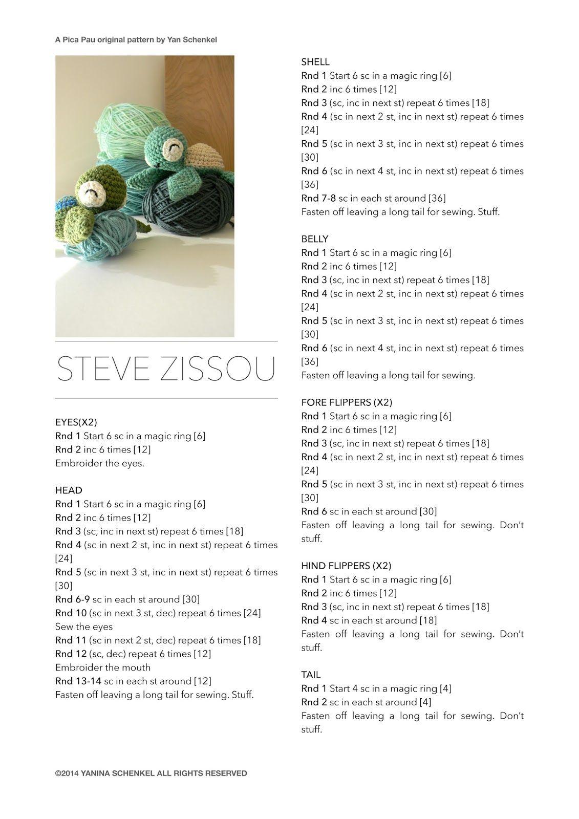 pica-pau: Steve (Zissou)   Crochet!   Pinterest   Patrones amigurumi ...