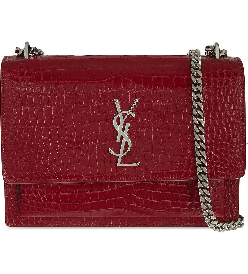 SAINT LAURENT Monogram Sunset medium crocodile-embossed leather shoulder bag 4df28a49372c7
