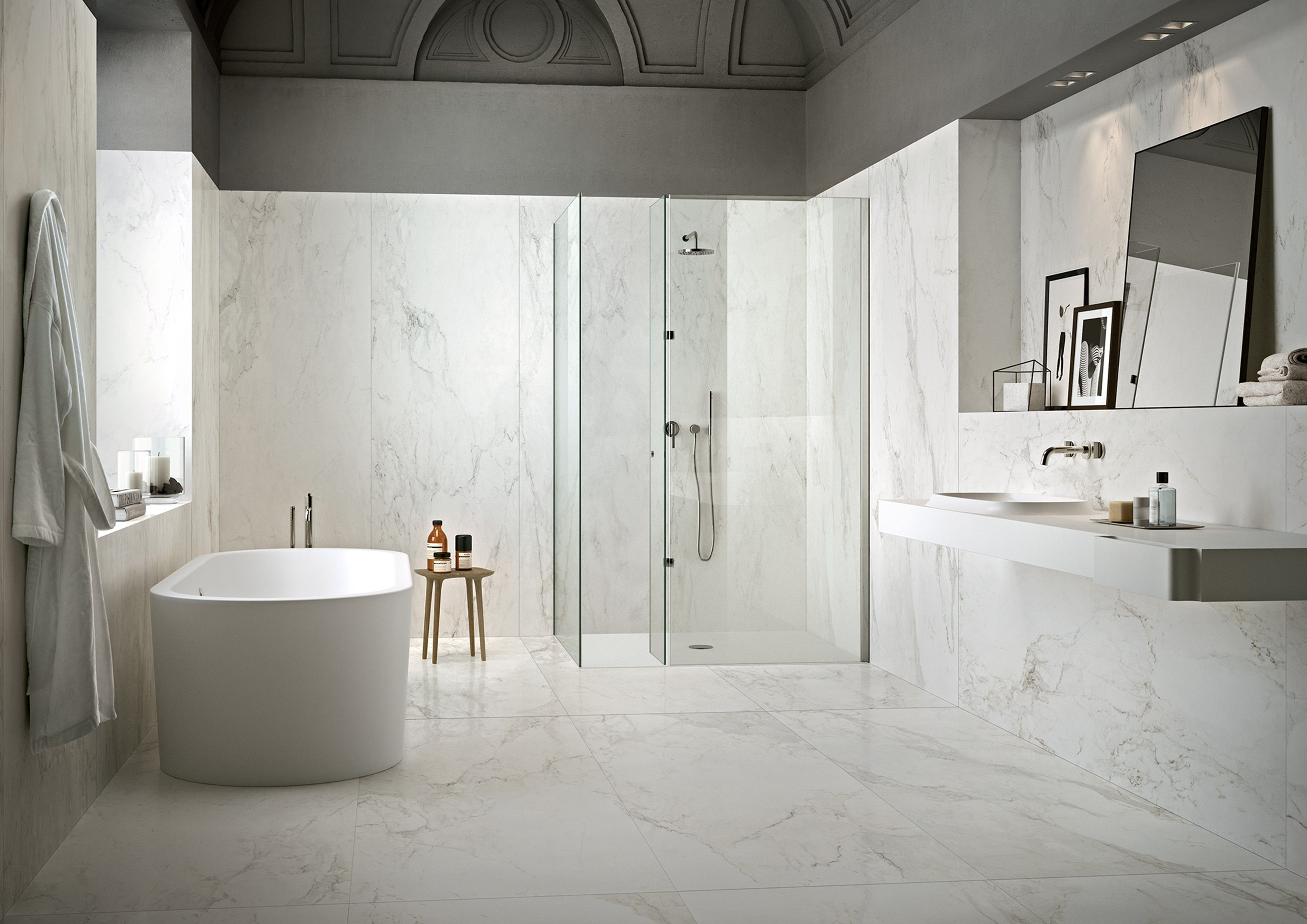Porcelain slab wall tiles look like natural stone, but are much ...