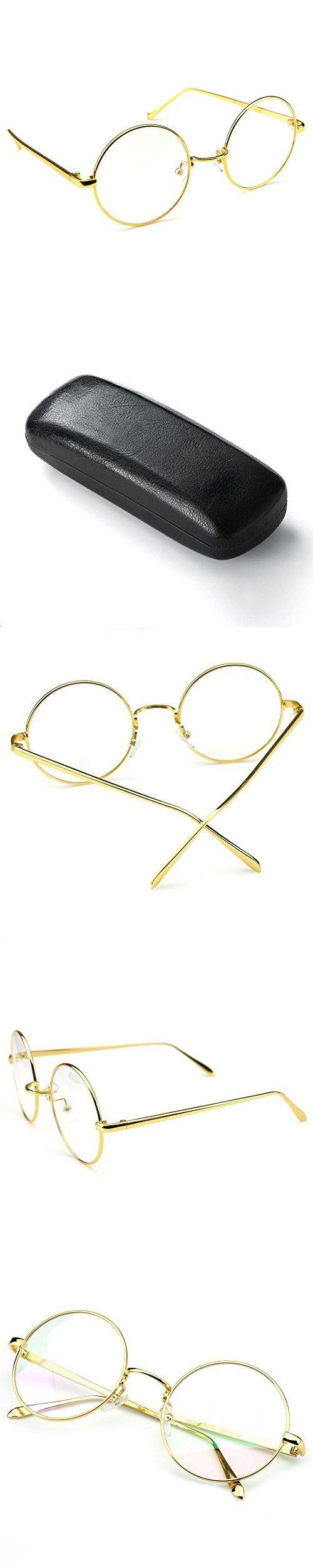 56bc6b661e4 PenSee Circle Oversized Metal Eyeglasses Frame Inspired Horned Rim Clear  Lens Glasses (Gold)