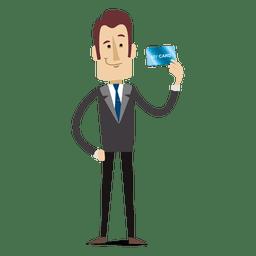 Businessman Cartoon Holding Creditcard Office Cartoon Business Man Cartoon