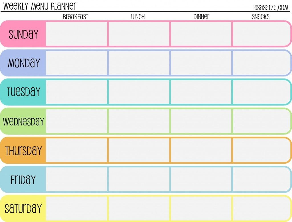 Best 25 Weekly menu template ideas – Free Weekly Calendar Template