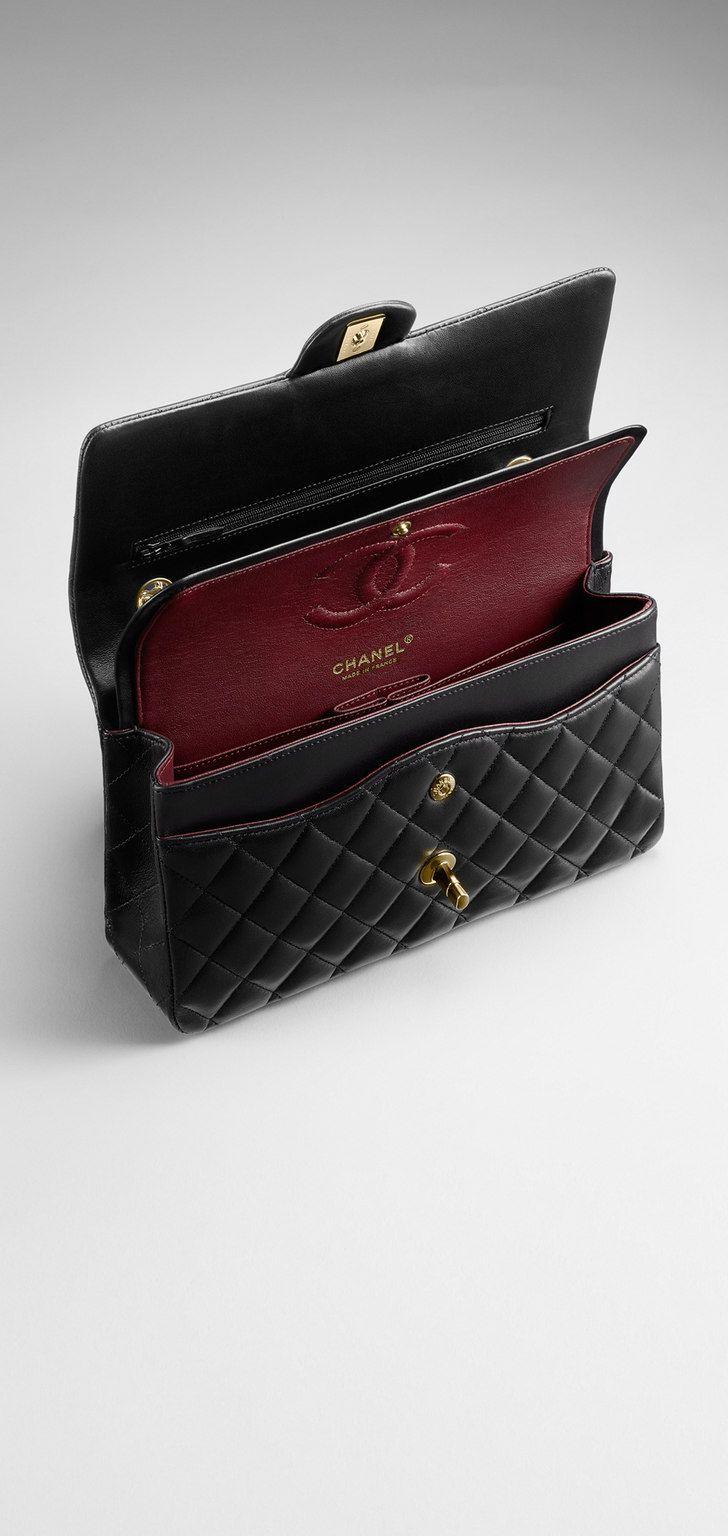 a89714ff0 Bolsa clássica, couro de cordeiro & metal dourado-preto - CHANEL ...