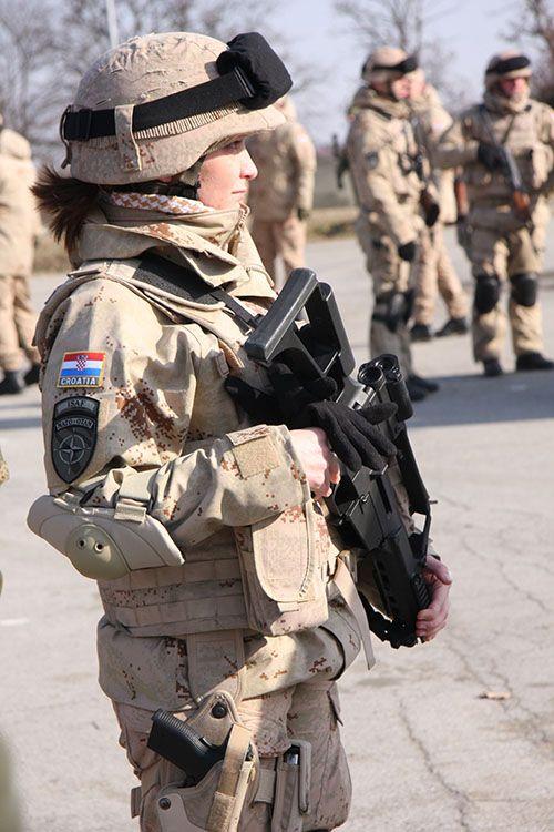 Croatian Isaf Female Female Soldier Army Women