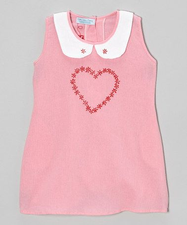 Look what I found on #zulily! Pink Heart Peter Pan Collar Dress - Infant, Toddler & Girls by Little Cotton Dress #zulilyfinds