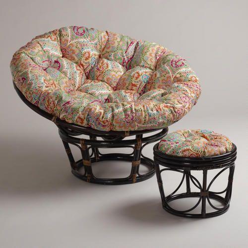 Papasan Chair And Stool With Venice Cushions World Market Balcony Stuhlkissen Papasan Stuhl