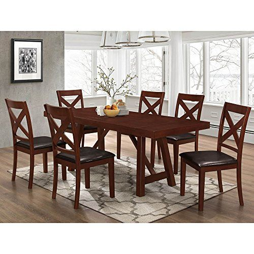 Walker Edison Furniture Solid Wood Trestle Style Espresso 7 Piece Expandable Dining Set