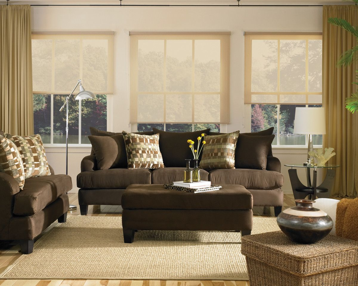 living room ideas brown sofa curtains