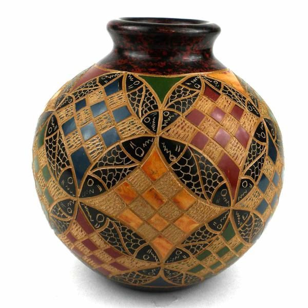 Beautiful Patterned 4 Inch Square Vase For Home Decoration And For