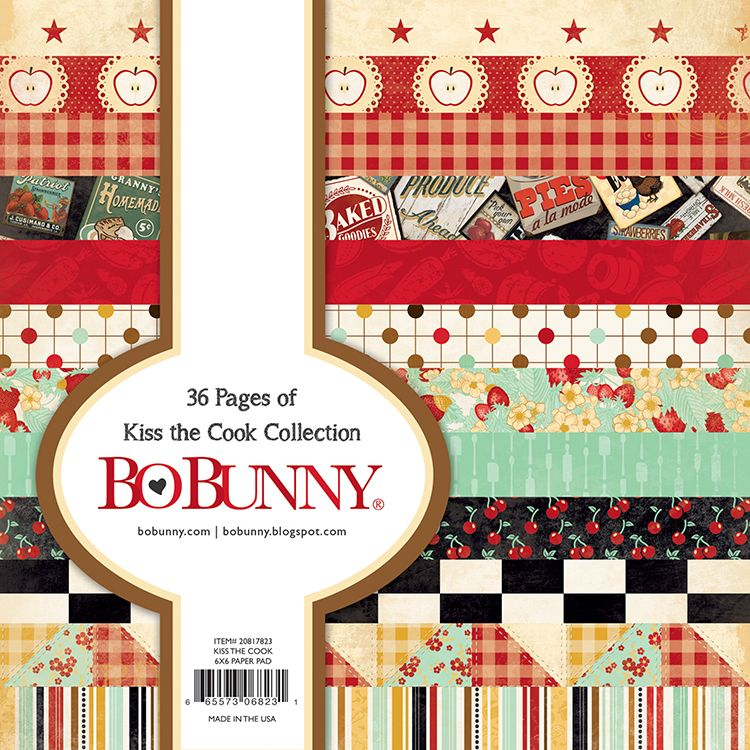 A la mode x 2 sheets BoBunny 12x12 Scrapbooking paper Kiss the Cook Collection