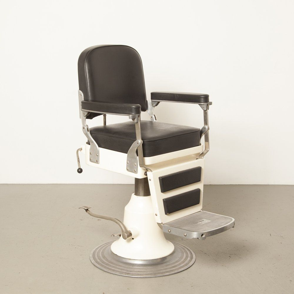 For Sale White Nike Model 555 Barber S Chair With Black Skai