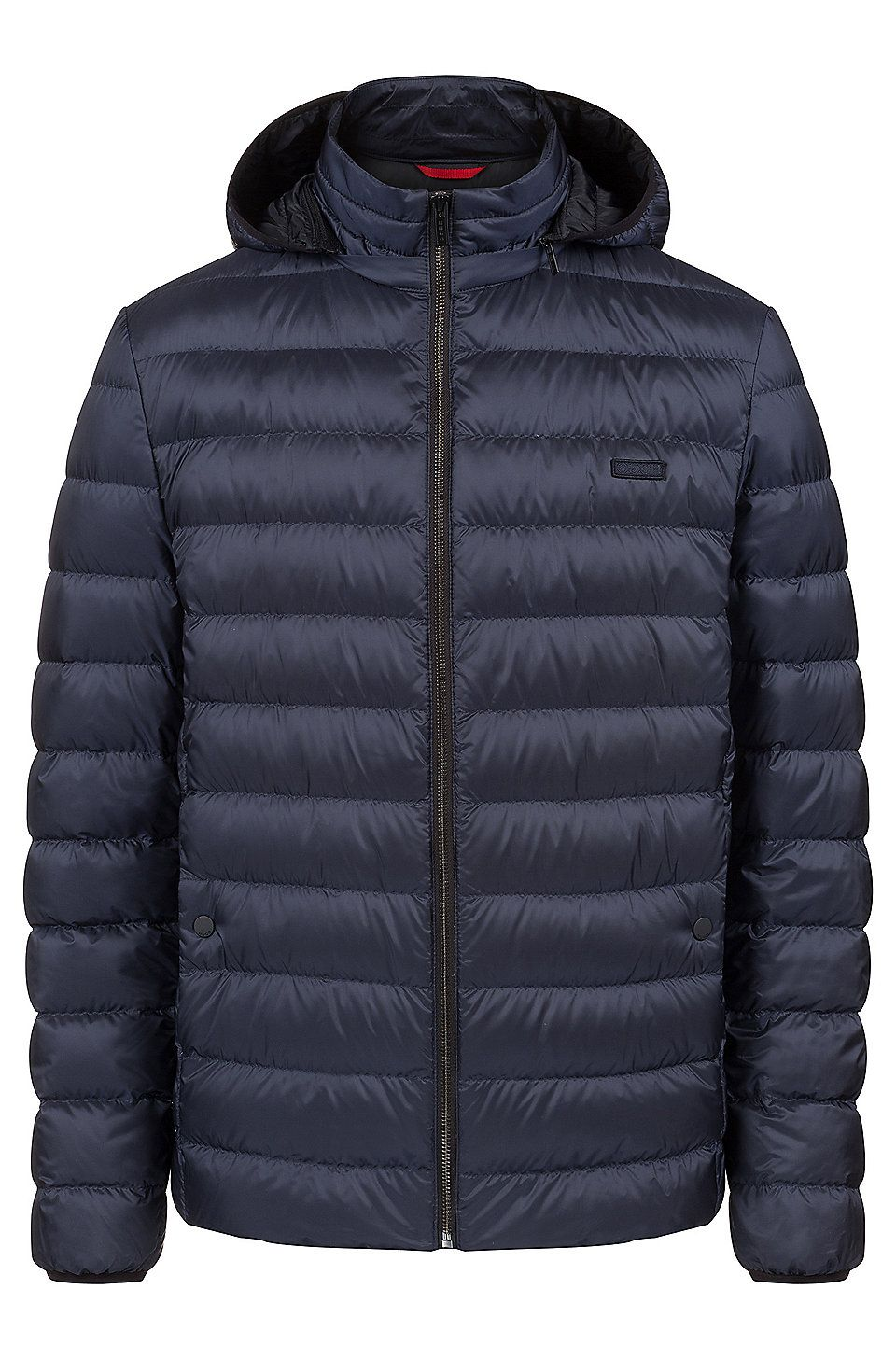7daa495e70 HUGO BOSS Down jacket in water-repellent fabric with detachable hood - Dark  Blue Down Jackets from HUGO for Men in the official HUGO BOSS Online Store  free ...