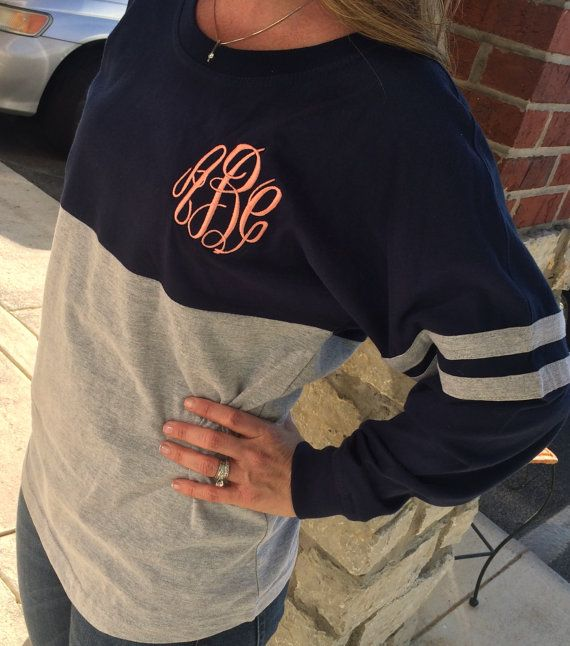 0e93b3edc4b Our super popular spirit shirt is made even cuter with a giant monogram  centered on the back or a 4 inch monogram on the front left chest! This