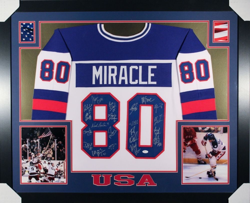 1980 Team Usa Miracle On Ice 35x43 Custom Framed Hockey Jersey Team Signed By 20 Including Mike Eruzione Jim Crai Framed Hockey Jerseys Jim Craig Team Usa